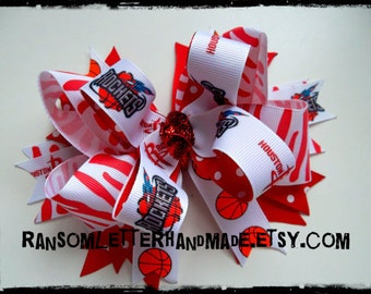 Houston TX Bows Rockets Ribbon Hair Bow Red and White Tiger Ribbon