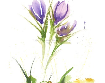 """Crocus Study -Abstract 8.5 x 11"""" Print of watercolor painting"""