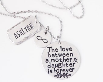 Mother Necklace, Hand Stamped Jewelry, Mother Daughter Sentiment Jewelry, The Love Between A Mother and Daughter is Forever