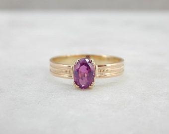 Fuscia Pink Sapphire And Simple Gold Band V6N2AV-N