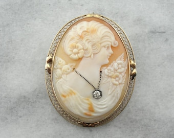 Antique Diamond and Shell Cameo Brooch with Art Nouveau Themes 5JPFHY-P