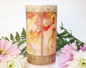 Alphonse Mucha The Seasons Art Nouveau Decorative Candle; Mucha Seasons; Art Candle; Seasons Art; Art Nouveau Decor; Belle Epoque Decor