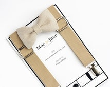 Boys Bow Tie and Suspenders SET! Sand-colored linen boys bow tie and Tan Suspenders, beige boy suspenders, wedding bow tie suspenders set