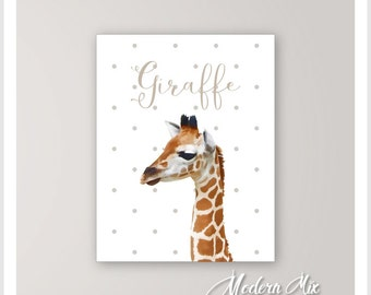 Giraffe Nursery Art Print, Baby Giraffe, Animal Nursery Decor, Zoo Nursery, Giraffe Nursery Art, Baby Animal Painting, Baby Room Art BA-001S
