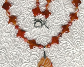 Orange is the New Onyx - Striped Onyx, Carnelian and Sterling Silver Necklace