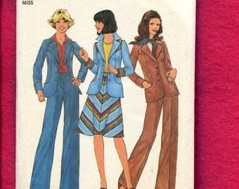 1970's Simplicity 7442 Retro Western Jacket A-Line Skirt & Wide Leg Pants Size 12