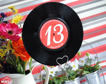 7″ Vinyl Record Wedding Table Names / Table Numbers (x 10)