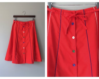 Vintage Red Panel Skirt Stripe Piped A-Line Knee Length Circus Striped 1970s High Waist Skirt Mod Retro Spring Button Front Size 8 10 Medium
