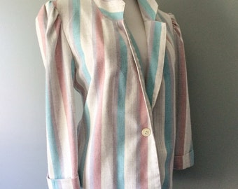 Stripe Linen Jacket Vintage 1970s 80s Blazer Dusty Pink Blue Violet & Off White Striped 3/4 Cuffed Sleeve Preppy Jacket Size 14 16 Large XL