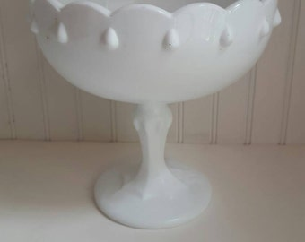 Vintage milk glass bowl pedestal bowl shabby chic white bowl fruit bowl.  2 available