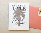 The Leilani Suite - Letterpress Save the Date Wedding Announcement, Taupe with Black, Destination, Palm tree, Elopement Announcement, Modern