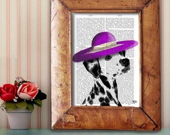 Spotted dog Purple Hat Digital Art Illustration Mixed Media Original Print Dog Art Dog Print Dalmation Wall Decor Wall hanging Digital Print