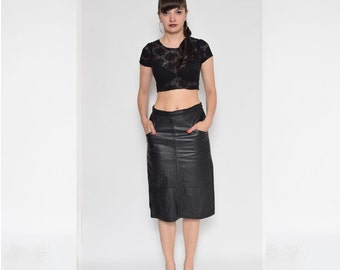 Vintage 80's Black Real Leather Pencil Skirt