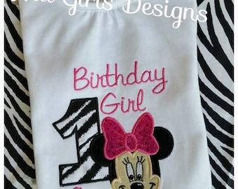 Minnie Mouse applique birthday shirt