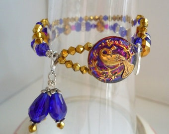 Czech glass button peacock clasp vintage inspired  like Downton abbey bracelet, romantic bohemian bracelet in blue cobalt crystal bracelet