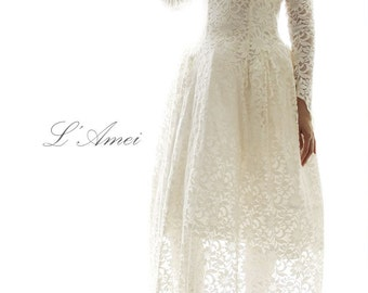 Tea Length Modern Neo Victorian Steampunk Cotton Lace Wedding Dress with Long Sleeves