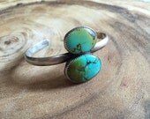 TWO SUNS Turquoise and Sterling Silver Cuff