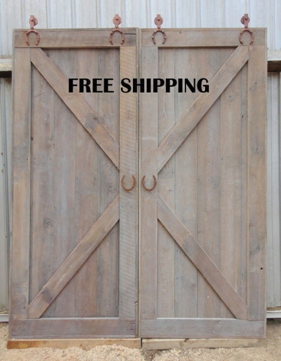 X Brace Double Sliding Barn Door Room Divider Horseshoe Track