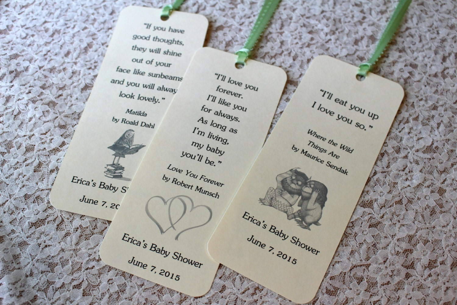Baby Shower Favors Bookmarks ~ Set of children book theme bookmark favors by