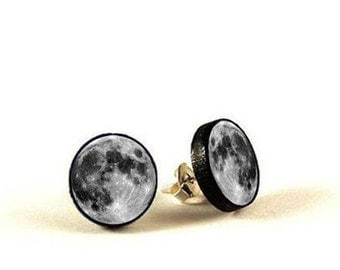 Full Moon - handmade stud earrings - decoupage, Full Moon Jewelry
