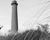 Lighthouse wall decor, Michigan art photo print, VERTICAL black and white photography, large paper or canvas 8x10 11x14 12x12 16x20 24x36