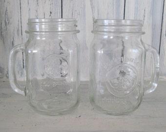 Set of 2, Vintage golden harvest drinking jar, glass tumbler beverage drinking jar, glass beer drinking jar, shabby cottage kitchenware