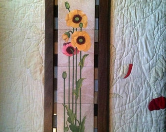 Art Nouveau Poppies Panel in Fireplace Surround Style, With Hand-Made Oak Camel Back Frame