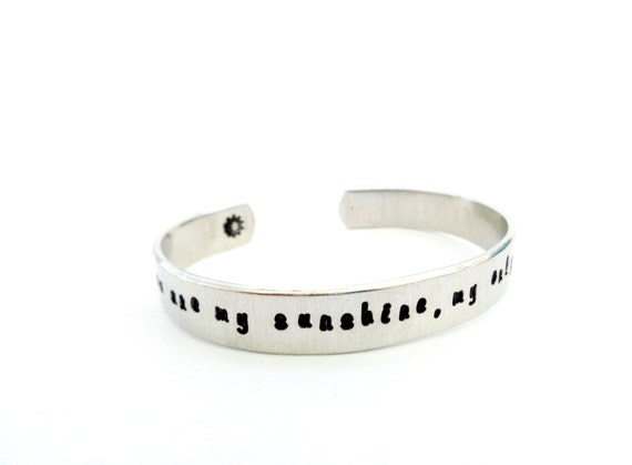 Daughters/Stepdaughters Gift, Secret Message Cuff Bracelet, You are my Sunshine, my only...Hammered Texured, Customizable