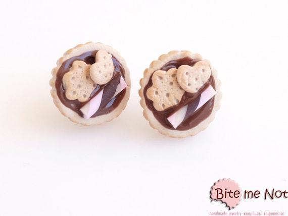 Mini Tarts Stud Earrings, Polymer Clay Jewelry, Tarts Post Earrings, Mini Food, Polymer Clay Sweets, Miniature Food, Foodie, Kawaii Jewelry