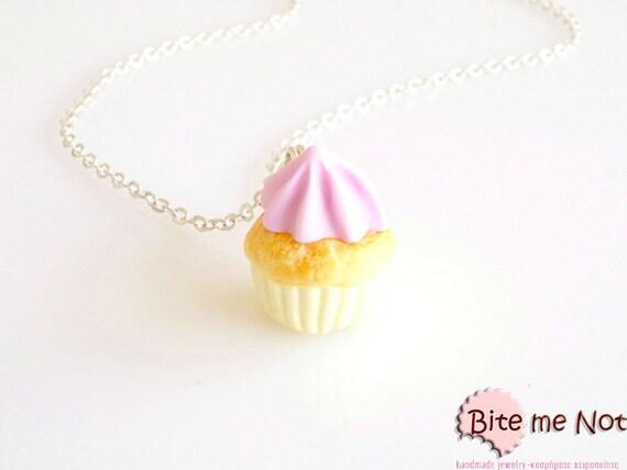 Cupcake Necklace, Cupcake Charm, Cupcake Jewelry, Mini Cupcake, Miniature Food, Polymer Clay Sweets, Kawaii Jewelry, Foodie Gift