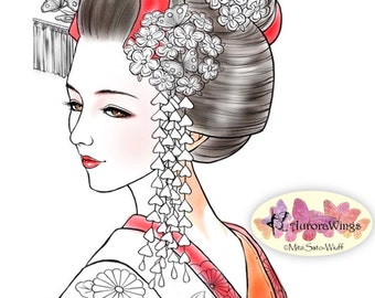 Digital Stamp - Miyabi Figure Only Version - Authentic Japanese Maiko Geisha Image - Fantasy Line Art for Cards & Crafts