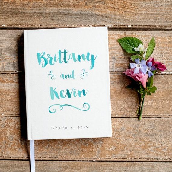 Wedding Guest Book Wedding Guestbook Custom Guest Book Personalized Customized custom design wedding gift keepsake watercolor blue baby book