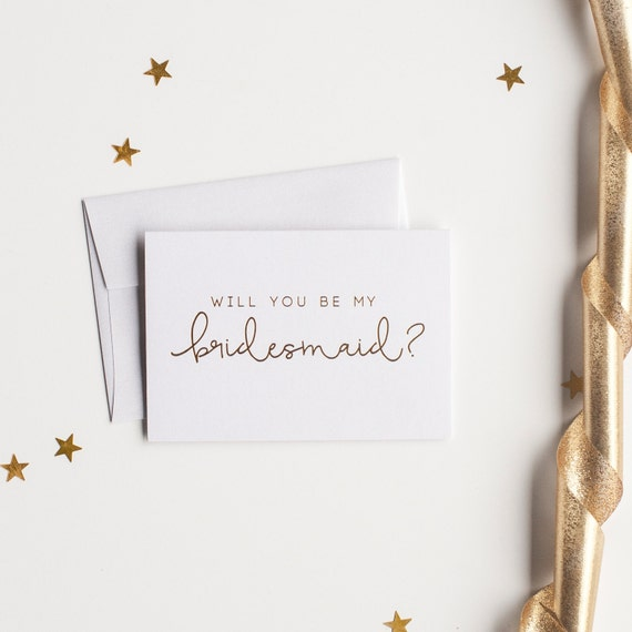 Gold Foil Will You Be My Bridesmaid card bridesmaid proposal bridal party card foil stamped notecard wedding party bridesmaid invitation box