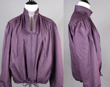 70s 80s Dusty PURPLE Jacket Coat vintage jacket adjustable long sleeve fan pleated collar zip up 70s jacket 80s jacket S/M Small/Medium