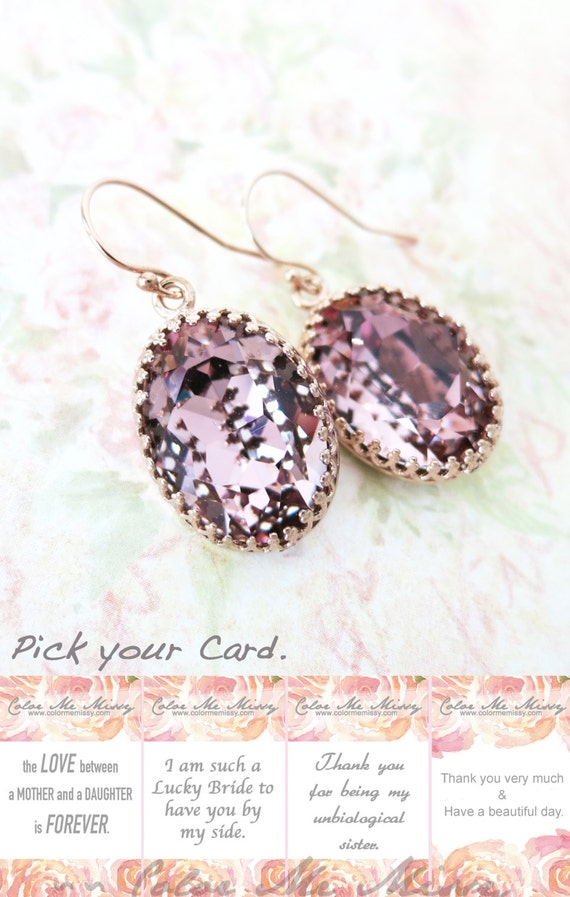 Rose Gold FILLED Swarovski Antique Pink Oval Crystal Earrings, grey wedding bridal earrings, bridal bridesmaid gifts, pink gold weddings