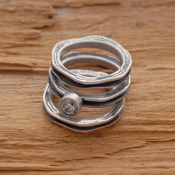 white topaz stackable engagement ring set unique matching
