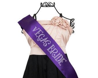 Vegas Bride Rhinestone Bridal Bachelorette Sash F2