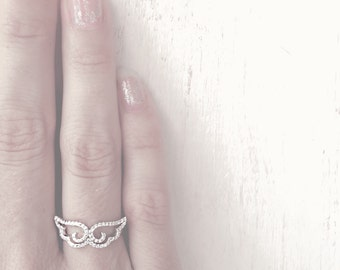 Always Near ~ Pave Sterling Angel Wing Ring