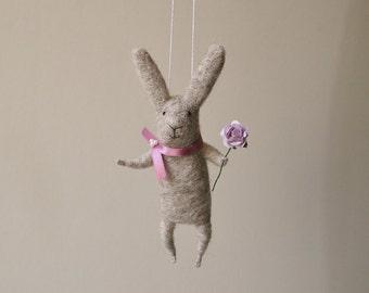 Felt Animal, Gray Needle Felted Bunny, Hanging Bunny,Needle Feled Miniature, Bunny Mobile