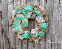 Teal Burlap Wreath, Spring Wreath, Teal Summer Wreath, Wreath for Door, Year Round Wreath, Wreaths