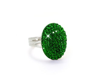 Green Swarovski Ring, Kelly Green Ring, Dark Green Silver Swarovski Crystal Ring, Dark Moss Green Swarovski Crystal Ring