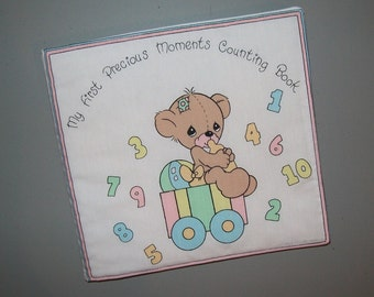Precious Moments cloth book - preschool number counting - baby soft book - toddler learning - learn to count - pastel colors - baptism gift