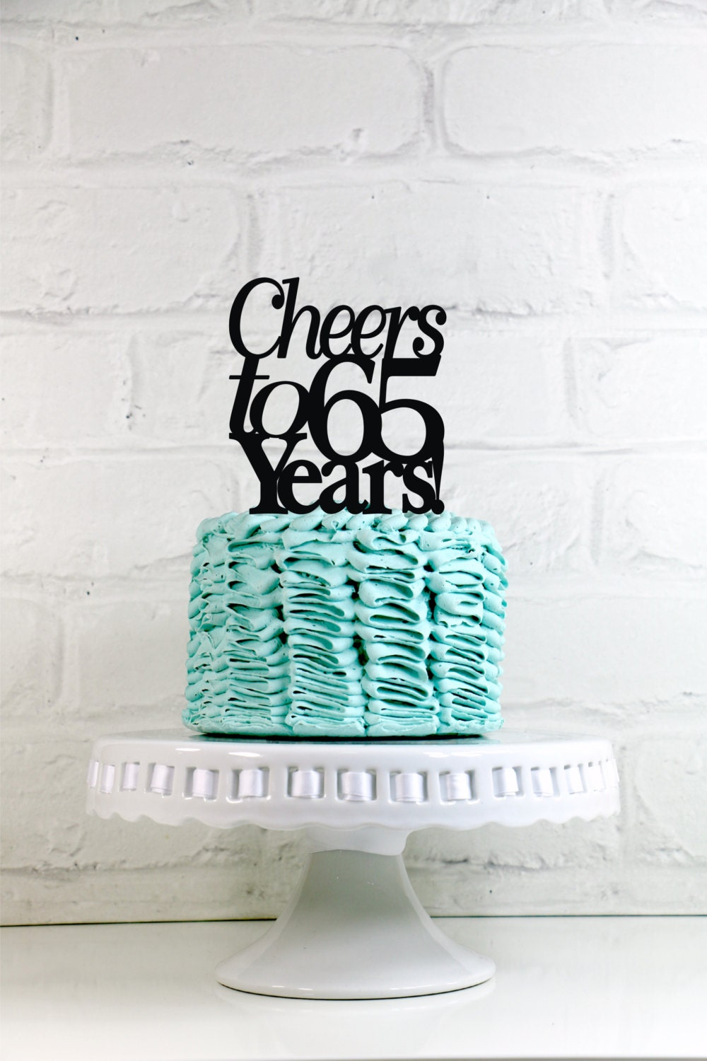 Cheers To 65 Years 65th Anniversary Or Birthday Cake Topper Or