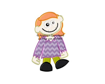 Halloween ZOMBIE GIRL Halloween Applique Design - Instant EMAIL With Download - for Embroidery Machines