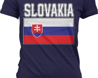 Slovakia Flag Ladies T-shirt, Slovak Flag, Slovenská republika , Slovak Pride, Junior and Women's Slovakia Flag T-shirts GH_01614