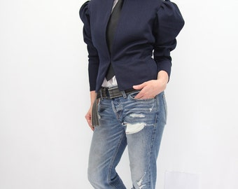 Peplum jacket, denim jacket, denim peplum jacket, puff sleeve jacket, puff sleeve blazer, peplum denim blazer, summer jacket