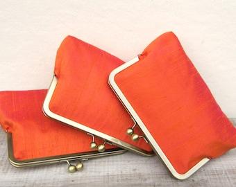 Orange clutch, fall wedding, clutch set of 3, bridesmaid gift, autumn wedding, silk bridesmaid clutch bag, rustic clutch, raw silk purse