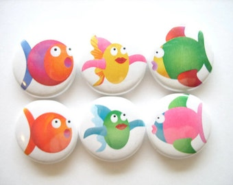 Cute Fish Magnets, Beach House, Round Magnets, Whiteboard Magnets, Kitchen Magnets, Stocking Stuffer, Fridge Magnets, Science Teacher Gift