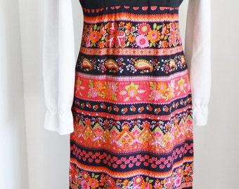 Vintage Pinafore Dress Handmade 1970s White Blouse Multicoloured Folk Pattern Skirt Orange Red Green Pink UK Size 8 US Size 4