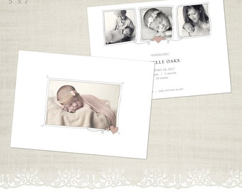 Birth Announcement Card Template for Photographers - BA05